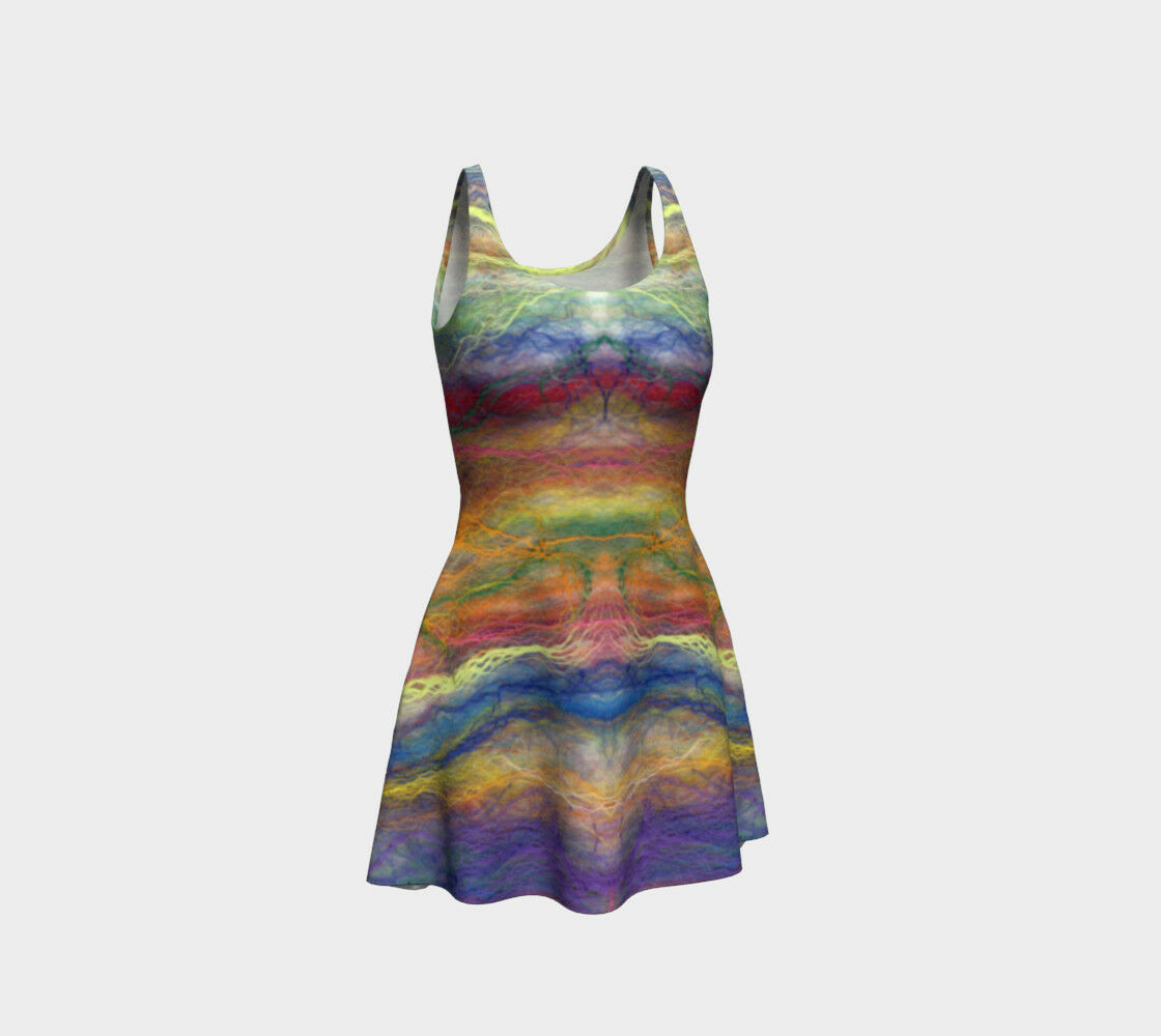 Rainbow Stripes Dress UK Design Handmade Fit & Flare Summer Clubwear Festival