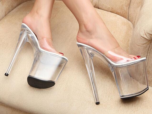 Damenschuhe Stilettos Platform Mules High Heel Sandales Summer Clear Sexy Sweet Schuhe