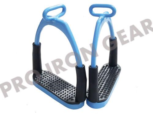 RIDING BENDY IRON STEEL 4.75'' OFFSET HORSE FLEXIBLE  SAFETY STIRRUPS