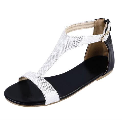 UK Stock Ladies Womens Flat Low Wedge Platform Heel T-strap Summer Sandals Shoes