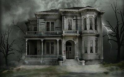 Picture Horror Art Ghost Demon A3 Poster Grim Ancient Gothic Haunted House