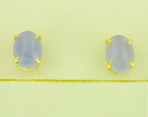 14k Solid Yellow Gold Natural Jadeite Oval lavender Jade Stud Earring solitaire