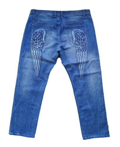 Oversize Pantaloni 33 Jeans Wings 58 60 48 Inchgr New 42 44 Embroidery uomo Blue UdgHqy