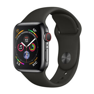 Apple Watch Series 4 44 mm Space Black Stainless Steel Case with Black Sport Band (GPS + Cellular) - (MTX22X/A)