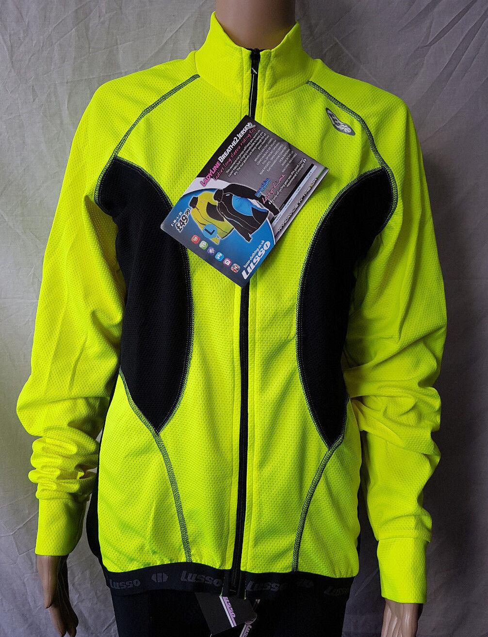 Lusso LadyLine Breathe2 Women's Long Sleeve  Jersey Yellow bluee L-XL RRP