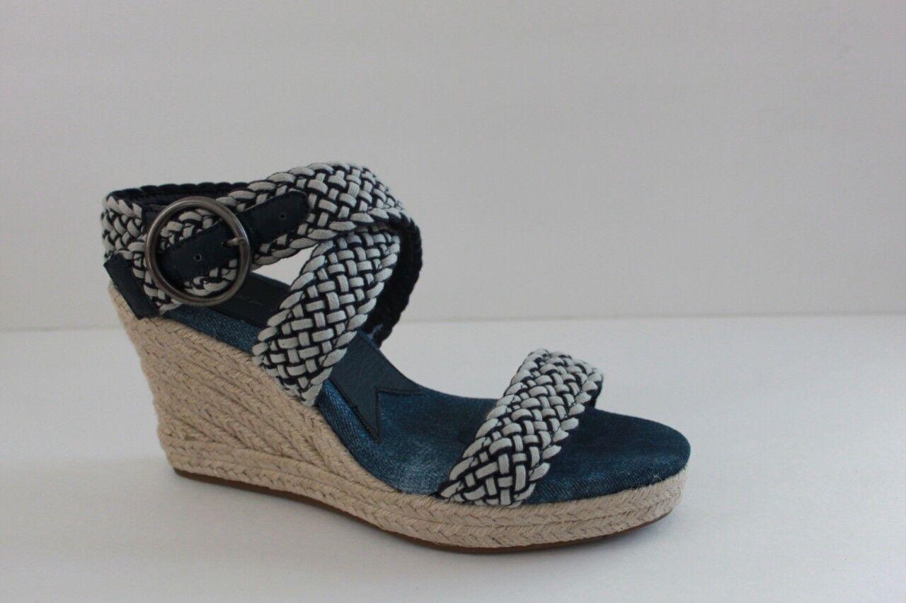 Lucky Brand Brand Brand Mujer Tamaño del zapato 9.5 M Azul Taco Alto de Cuña con Plataforma de algodón tejido  buena reputación