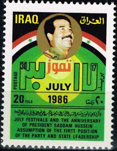 L-039-Irak-dictateur-Saddam-Hussein-1986-timbre-neuf-sans-charniere