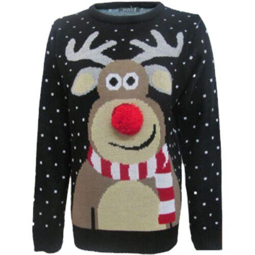New Kids Boys Girls Xmas Rudolph Reindeer Pom Nose 3D Novelty Christmas Jumper