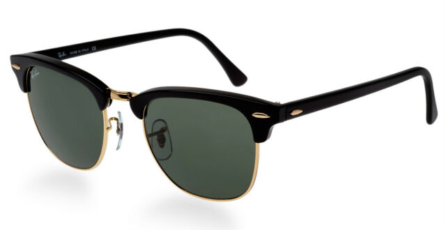 NEW Original RAY-BAN CLUBMASTER Black Gold G-15 Sunglasses RB 3016 W0365 51 MM