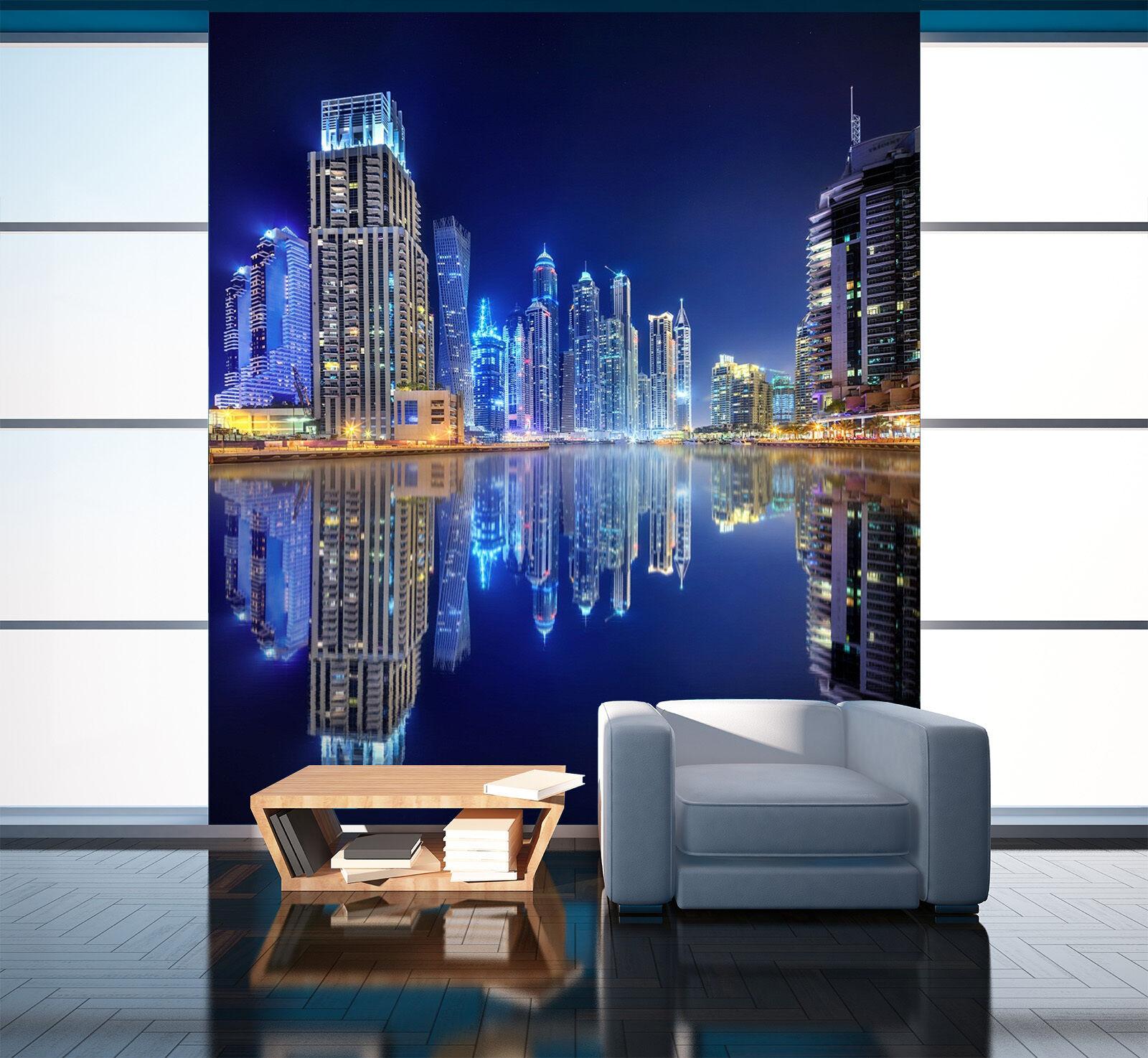 3D Fiume Edificio Parete Murale Foto Carta da parati immagine sfondo muro stampa