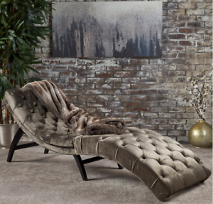 Super Details About Chaise Lounge Chair Sofa Daybed Curved Lounger Bedroom Grey Velvet Tufted New Forskolin Free Trial Chair Design Images Forskolin Free Trialorg