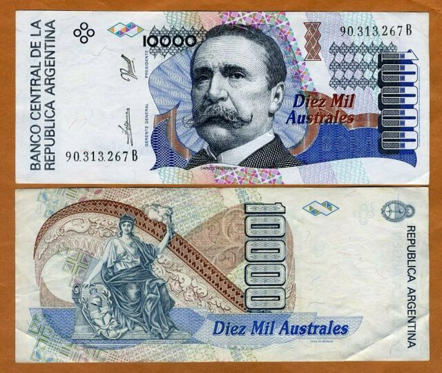 Argentina, 10,000 (10000) Australes ND (1989-1991) P-334a XF > Lady Liberty