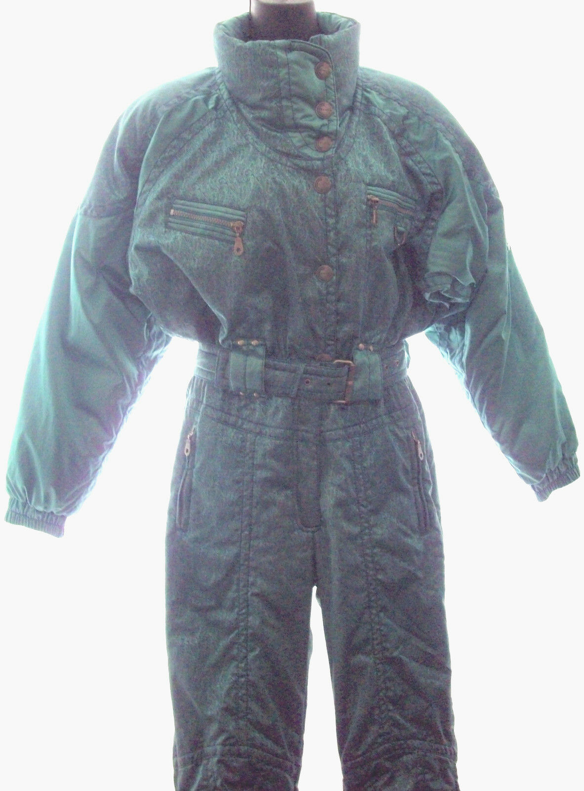 WOMENS S KAELIN Solar Power Vintage 80s 1 pc Mint Green Insulated Ski Snow Suit