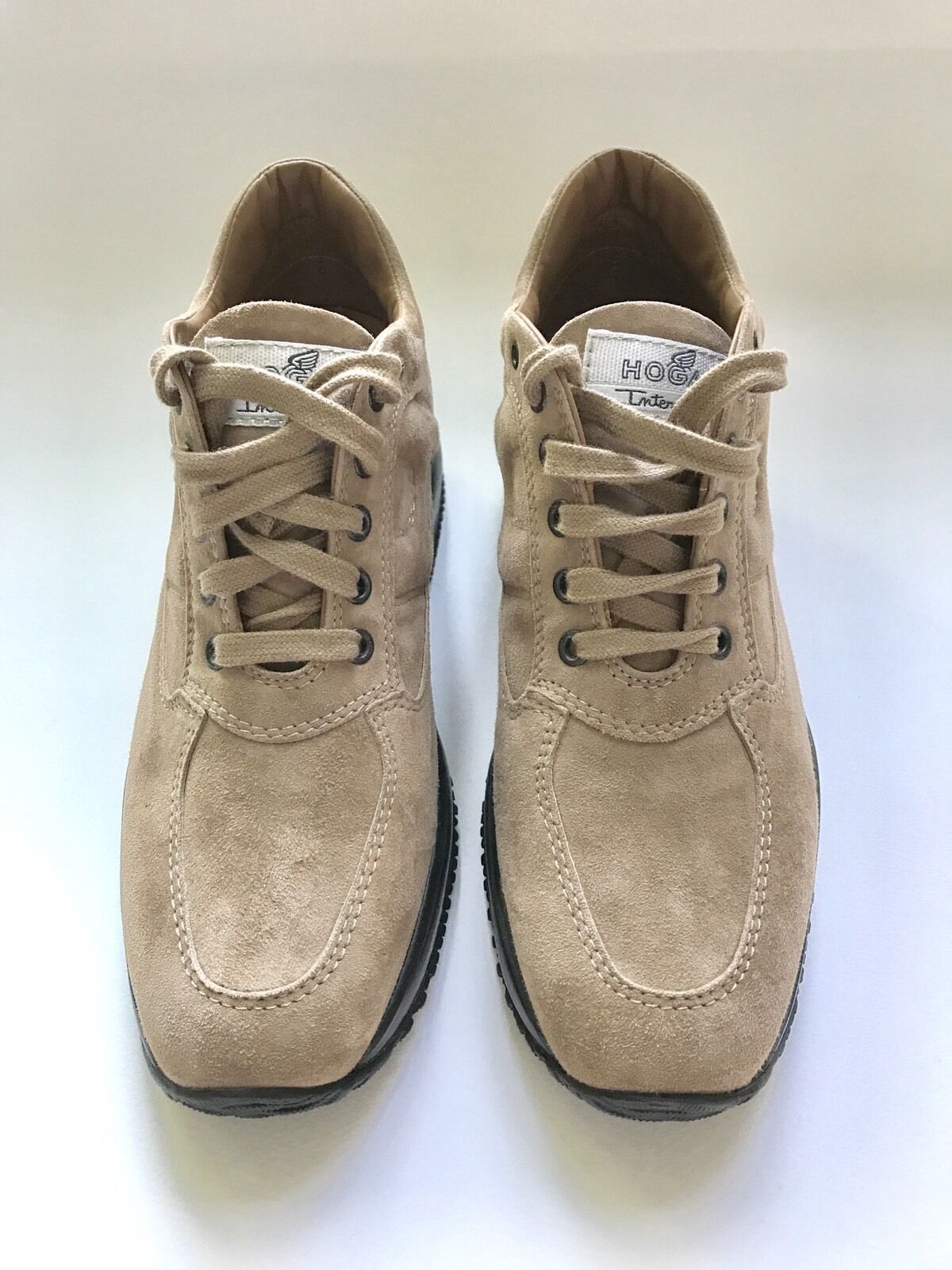 HOGAN women shoes Interactive tan suede lace up sneaker