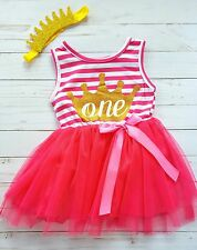 Baby Girl Hot Pink First Birthday Outfit Tutu Dress Crown Headband One 12M