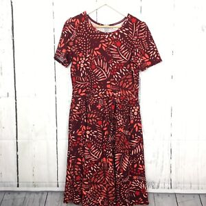 Lularoe Size Xl Amelia Dress Burgundy Orange Floral Fit