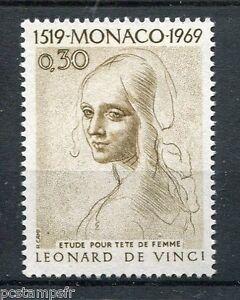 Juste Monaco 1969, Timbre 799 Leonard De Vinci Tableau Tete Femme Neuf** Painting, Mnh Couleur Rapide