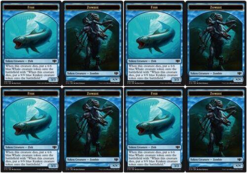 4 x FISH Token ZOMBIE TOKEN NM mtg Commander 2014 Blue