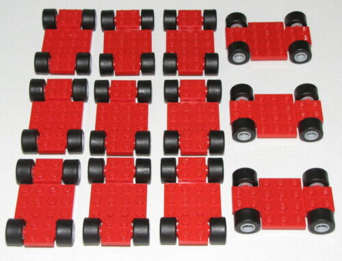 LEGO LOT OF 12 RED RACE CARS VEHICLES WITH WHEELS HUBS PIECES