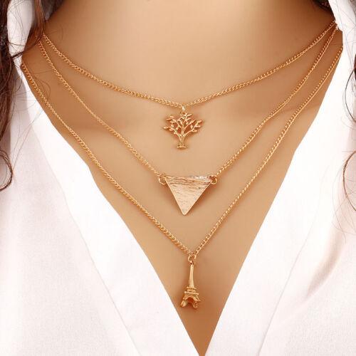 Festival Multi-layer Choker Karma Necklace Lariat Pendant Dangle Drop Chain Boho