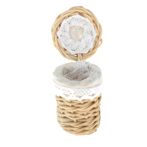 Dollhouse 1:12 Scale Hand Made Miniature Clothes Basket Laundry Basket Toy