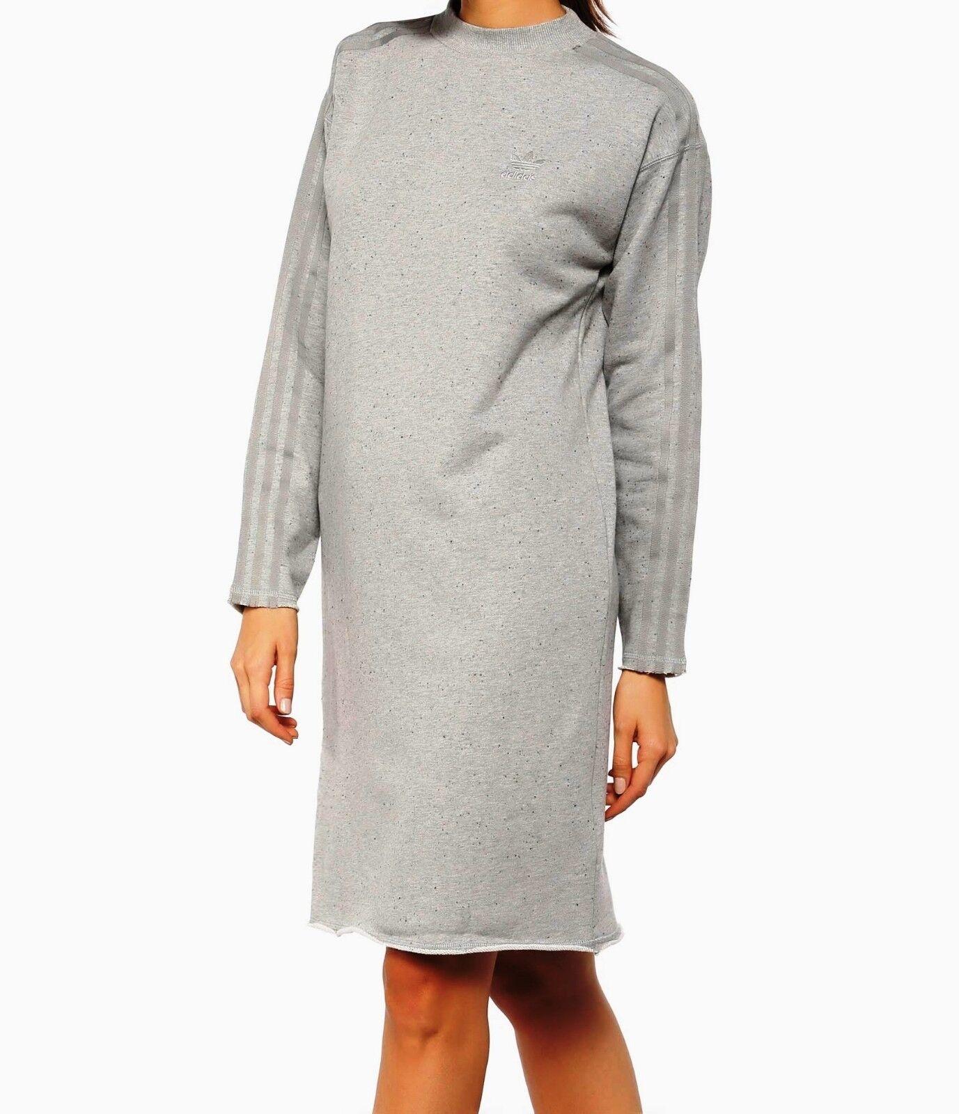 ADIDAS ORIGINALS SWEATER CREW DRESS  grau -BNWT Größe UK 6,8,10,12 RARE