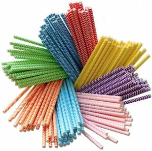 200-Pack-Biodegradable-Paper-8-Colors-Rainbow-Straws-Chevron-for-Juices-Shakes