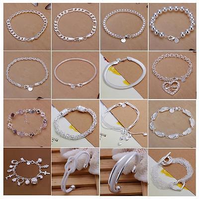 Wholesale Lot 5/10pcs Silver Snake/Rope/Curb/Figaro/Mesh Charms Bracelet/Bangle