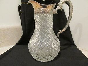 S38-ANTIQUE-ABP-CUT-GLASS-SYRUP-MILK-PITCHER-SILVER-TOP-HANDLED-KITCHEN-WARE-JAR