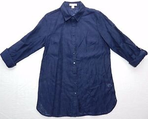 WOMENS-navy-button-down-BLOUSE-SHIRT-COLDWATER-CREEK-medium-10-12-ab50