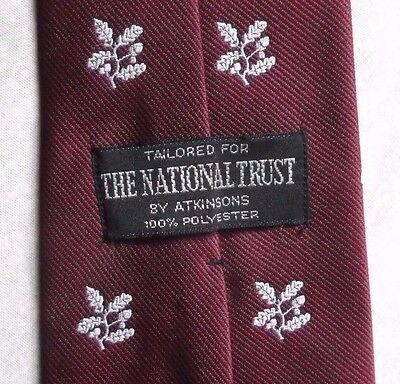 Vintage Tie Cravatta Da Uomo Retrò 1980s Il National Trust Borgogna- Ampie Varietà