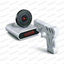 Clock Novelty Laser Target Gun Alarm Waken Desk Gadget Shoot