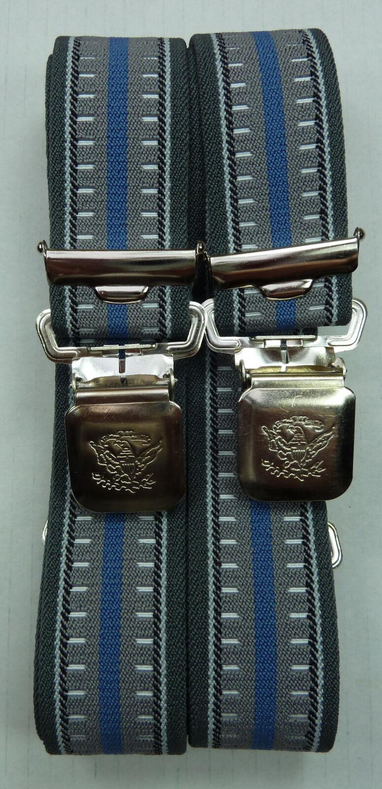 Hosenträger, grau-blau,35mm breit, Biker Hosentäger, extra starker Alligator