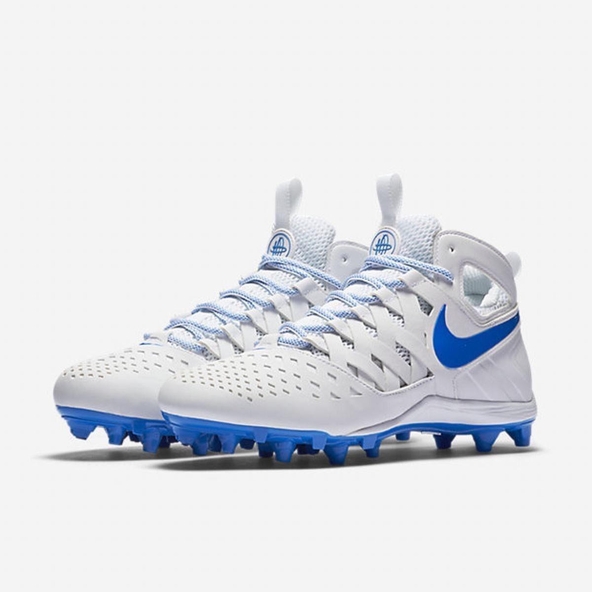 SZ 9 Men's Nike Huarache V 807142-141 White Royal bluee Lax Lacrosse Cleats