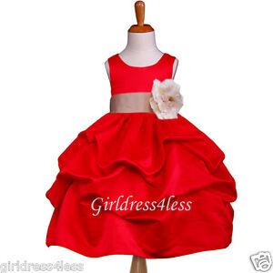 9f8cccb7b4b RED CHAMPAGNE WEDDING JR. BRIDESMAID FLOWER GIRL DRESS 6M 12M 18M 2 ...