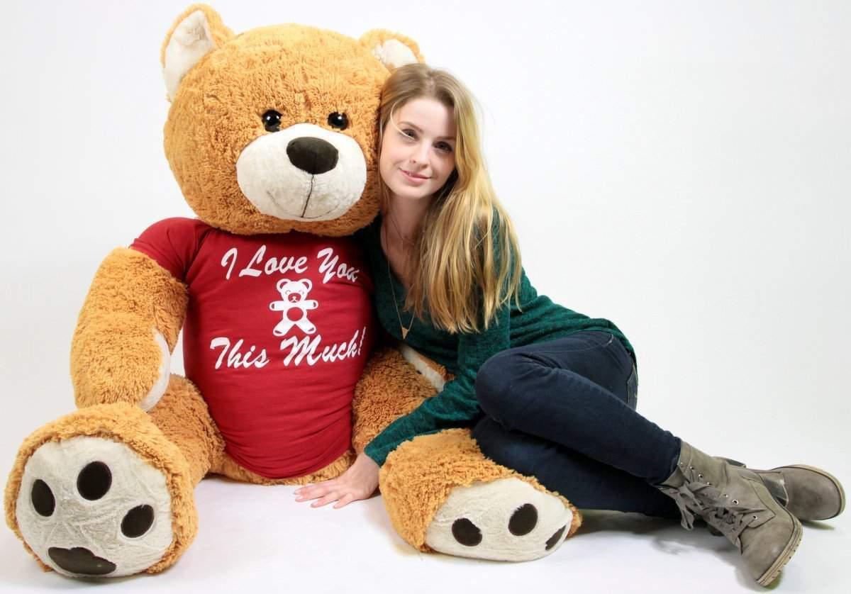Big Plush Giant 5 Foot Teddy Bear Wears Tshirt I LOVE YOU THIS MUCH