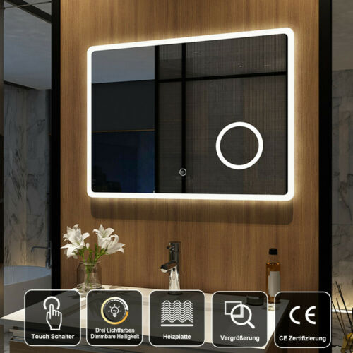 Led Badspiegel Beleuchtung 80x60cm mit Touch Schminkspiegel Dimmbar Wandspiegel