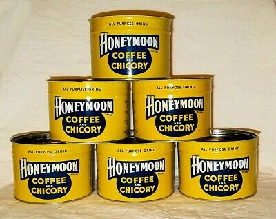 ADVERTISING TIN ~ CREOLE BLEND Rare HONEYMOON COFFEE /& CHICORY NEW ORLEANS 1 Lb