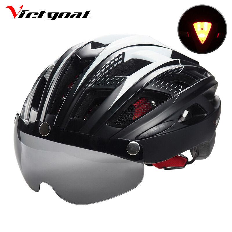 Casco Ciclismo Bicicleta Ultraligero MTB Visera Luz LED de Seguridad VICTGOAL