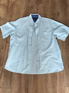 Blue-Harbour-Turquoise-And-White-Striped-Regular-Fit-Pure-Cotton-Shirt-Size-XL