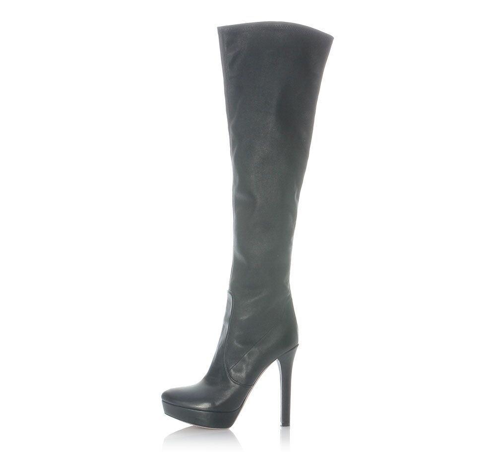 MIU MIU Knee-High Black Leather Platform Boots, Size 39 9 - Tall and sexy
