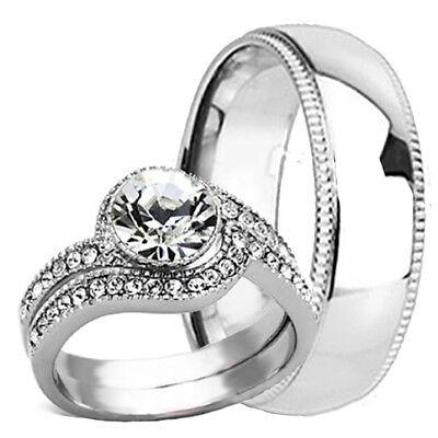 His Hers New Mens TITANIUM 6MM Band /& 2 pc Womens Engagement Wedding Ring Set CZ