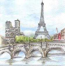 """3 Servietten Napkins Paris Eifelturm """"Stadt der Liebe"""" Notre Dame #61"""