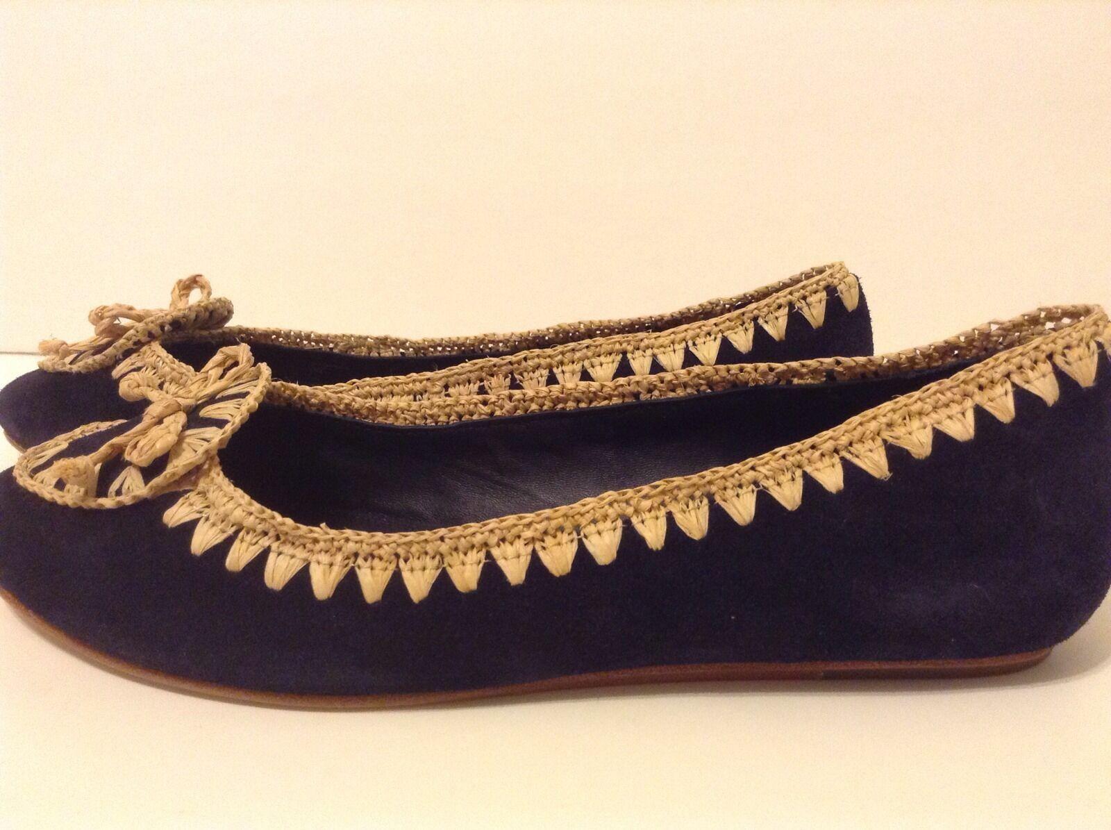 New Tory Burch sz 9,10 Natasha Ballet Flat-Split suede/Raffia Shoes
