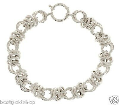 Polished & Textured Status Circle Bracelet REAL 925 Sterling Silver QVC J280304