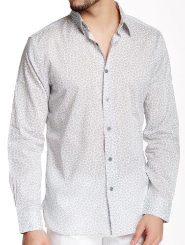 $148 John Varvatos Long Sleeve Printed Slim Fit Shirt Extra Large Dress Shirt Xl