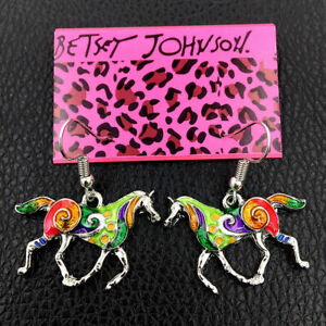 Betsey-Johnson-Multi-Color-Enamel-Steed-Horse-Earbob-Women-039-s-Dangle-Earrings
