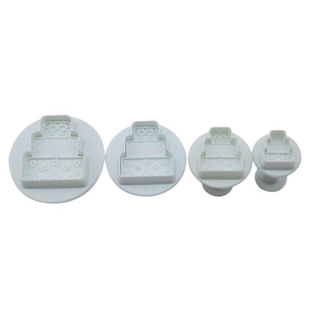 4pcs Three-layer Cake Shape Fondant Cake Cutter Press Mold Biscuit Mold Z