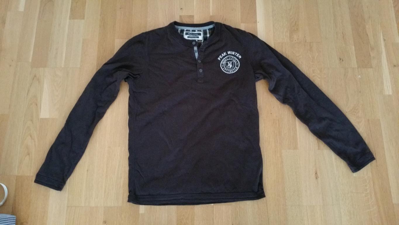 Henley Shirt Herren Langarm Braun  Marc O´Polo Gr. S M Peak Winter vintage style  | München Online Shop