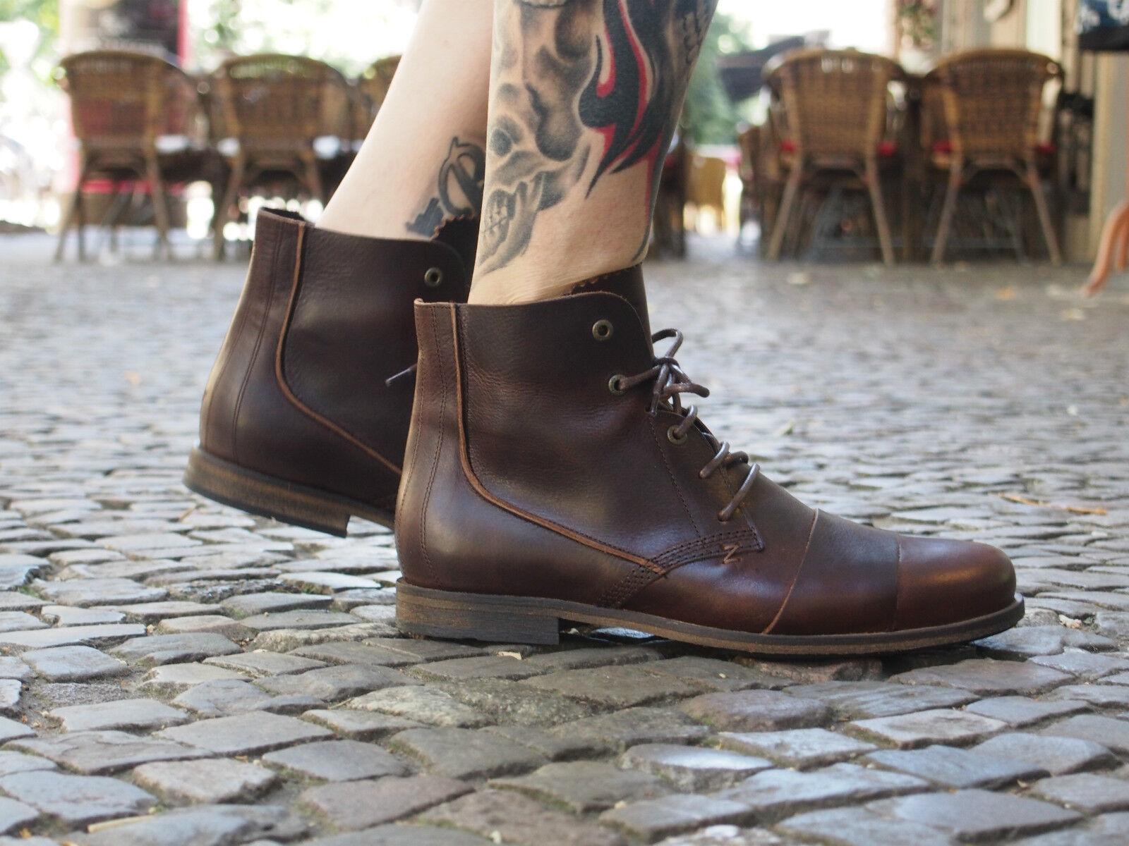 HUB Footwear Schuhe LOMU L braun dark brown Echtleder Boots Herrenstiefel NEU